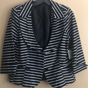 Black and white striped blazer size 10